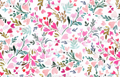 Heart-floral / white
