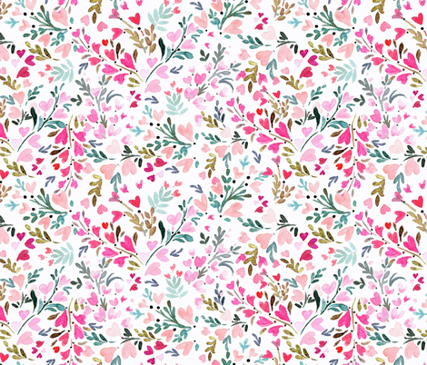 Heart-floral / white fabric by crystal_walen on Spoonflower - custom fabric