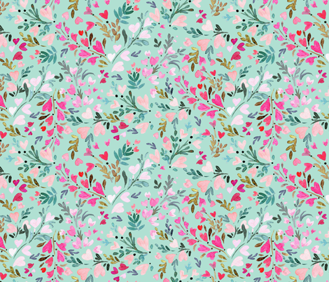 heart-floral / mint fabric by crystal_walen on Spoonflower - custom fabric