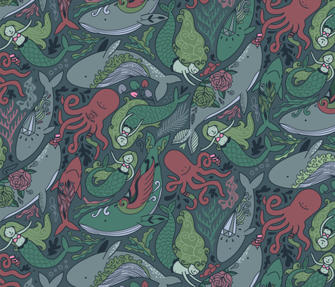 Under the sea tattoo master Octopus and his clients whales, mermaids, sharks. fabric by kostolom3000 on Spoonflower - custom fabric
