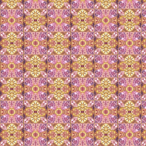 Pink Yellow Spanish Tiles Pattern