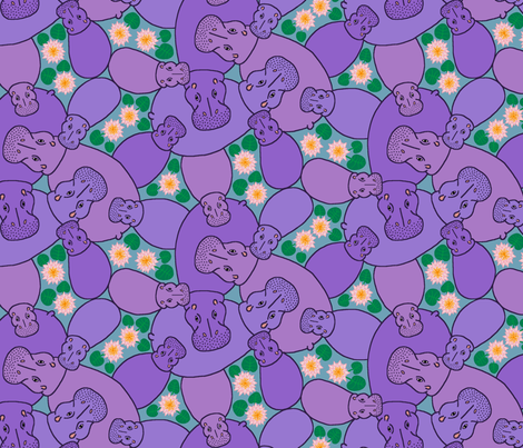 Hippo Pond - purple fabric by hippopottermiss on Spoonflower - custom fabric
