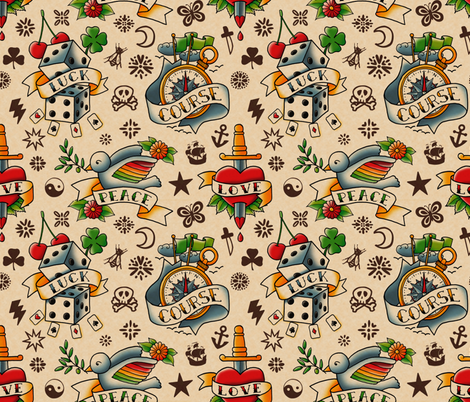 old tattoos, good wishes fabric by analinea on Spoonflower - custom fabric