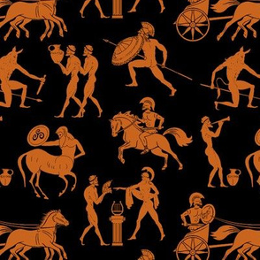 Greek Figures in Orange & Black // Small