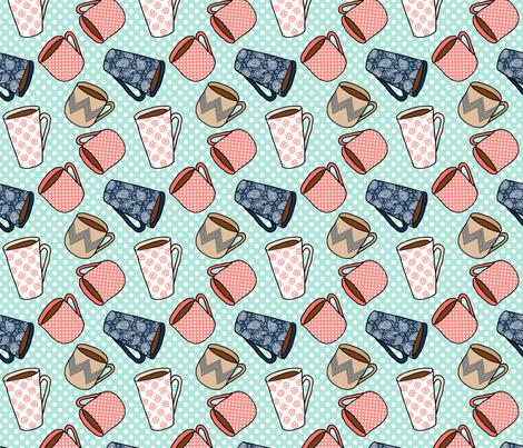 Coffee Mug Pattern fabric by northern_whimsy on Spoonflower - custom fabric