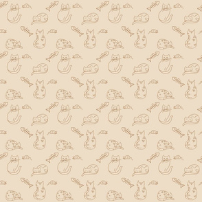 Cats, Toy Mice, and Fishbones on Beige