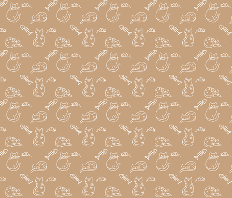 Cats, Toy Mice, and Fishbones on Tan fabric by northern_whimsy on Spoonflower - custom fabric