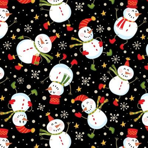 Festive Snowmen Scatter-Black