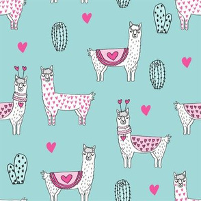 valentine llama // alpaca llamas valentines day fabric cute nursery kids love medium blue