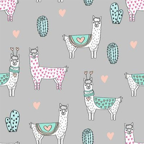 valentine llama // alpaca llamas valentines day fabric cute nursery kids love grey