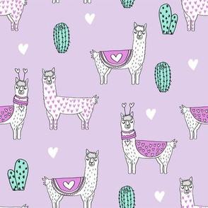 valentine llama // alpaca llamas valentines day fabric cute nursery kids love lavender