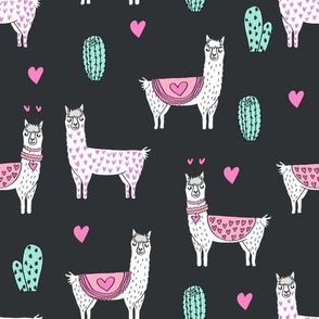 valentine llama // alpaca llamas valentines day fabric cute nursery kids love dark