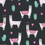 valentine llama // alpaca llamas valentines day fabric cute nursery kids love dark