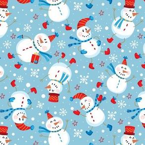 Festive Snowmen Scatter-Blue