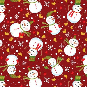 Festive Snowmen Scatter-Red