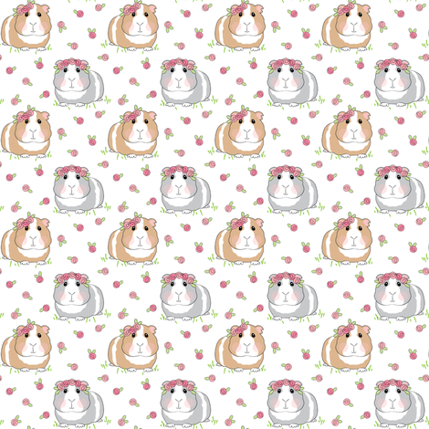 tiny guinea-pigs-with-roses-on-white fabric by lilcubby on Spoonflower - custom fabric