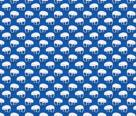 Hockey Helmet Pattern on Blue fabric by northern_whimsy on Spoonflower - custom fabric