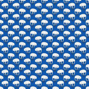 Hockey Helmet Pattern on Blue