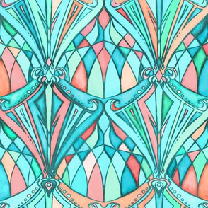 Aqua, Mint and Peach Art Deco Pattern