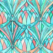 Aqua, Mint and Peach Art Deco Pattern