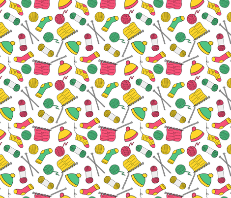 Knitting Project Pattern fabric by northern_whimsy on Spoonflower - custom fabric
