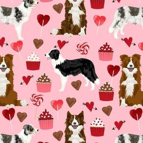 border collie mixed coats valentines day cupcakes love hearts dog fabric pink