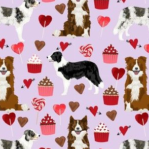 border collie mixed coats valentines day cupcakes love hearts dog fabric lavender