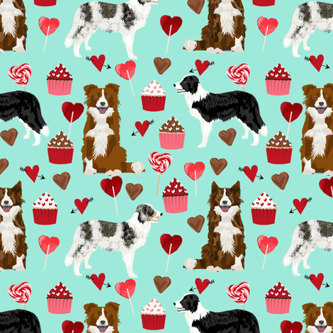 border collie mixed coats valentines day cupcakes love hearts dog fabric blue fabric by petfriendly on Spoonflower - custom fabric