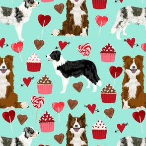 border collie mixed coats valentines day cupcakes love hearts dog fabric blue