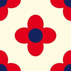 Retro Summerflower Red Offwhite Medium