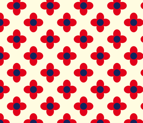 Retro Summerflower Red Offwhite Small fabric by prydverk on Spoonflower - custom fabric