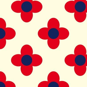 Retro Summerflower Red Offwhite Small