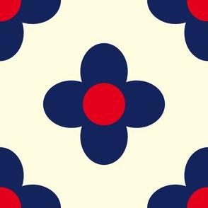 Retro Summerflower Blue Offwhite Medium