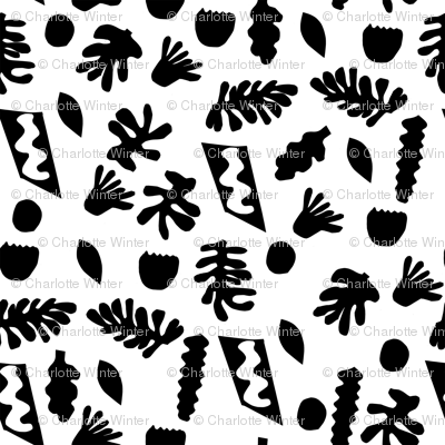 abstract shapes cutouts leaf botanical fabric black and white
