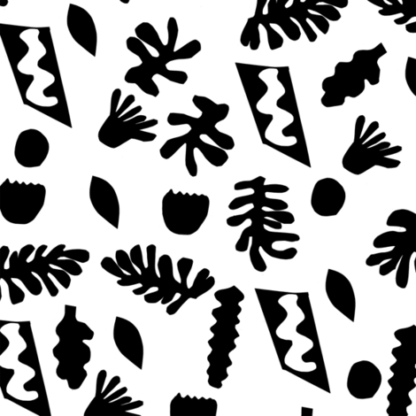 abstract shapes cutouts leaf botanical fabric black and white fabric by charlottewinter on Spoonflower - custom fabric