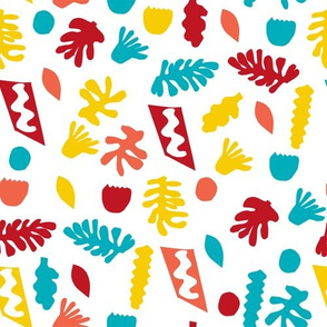 abstract shapes cutouts leaf botanical fabric white primary
