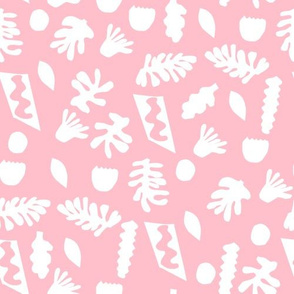 abstract shapes cutouts leaf botanical fabric pink