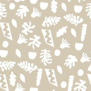 abstract shapes cutouts leaf botanical fabric beige