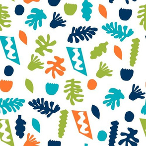 abstract shapes cutouts leaf botanical fabric white multi bright