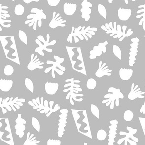 abstract shapes cutouts leaf botanical fabric grey