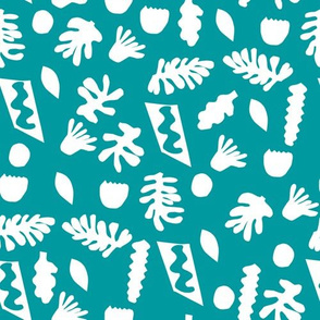 abstract shapes cutouts leaf botanical fabric turquoise