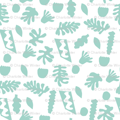 abstract shapes cutouts leaf botanical fabric white mint