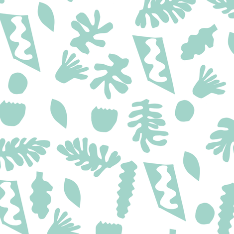 abstract shapes cutouts leaf botanical fabric white mint fabric by charlottewinter on Spoonflower - custom fabric