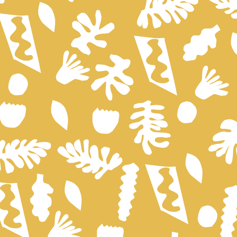 abstract shapes cutouts leaf botanical fabric yellow fabric by charlottewinter on Spoonflower - custom fabric