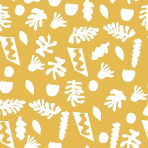 abstract shapes cutouts leaf botanical fabric yellow