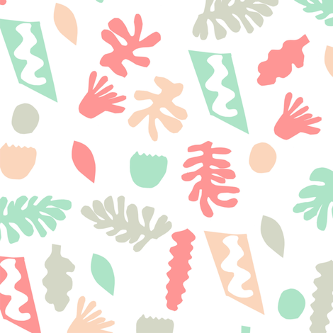 abstract shapes cutouts leaf botanical fabric white multi pastel fabric by charlottewinter on Spoonflower - custom fabric