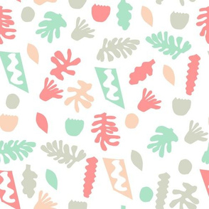 abstract shapes cutouts leaf botanical fabric white multi pastel