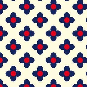 Retro Summerflower Blue Offwhite XSmall