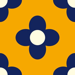 Retro Summerflower Blue Orange Medium