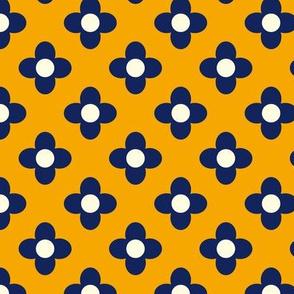 Retro Summerflower Blue Orange XSmall